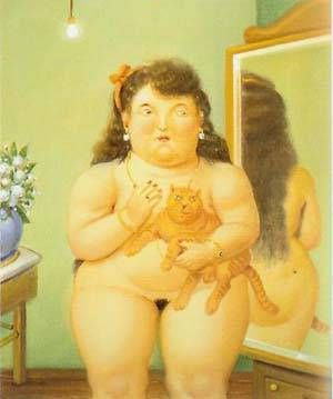 Fernando-Botero-Woman-With-A-Cat-Oil-Painting
